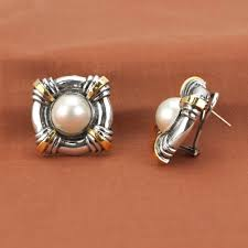 earrings brands frederica sterling silver 18k yellow gold mabe pearl button