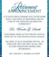 retirement announcement retirement announcement blue diamond dental
