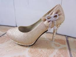 Wedding Shoes Online Mid Heel Closed Toes Bow Crystral Sparkling Champagne Wedding