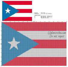 Flag Puerto Rico The Flag Of Puerto Rico Free Cross Stitch Pattern 150 X 100