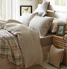 Plaid Bed Set Beige Plaid Duvet Cover Sets For Single Or Bed 100 Cotton