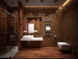interior cool bathroom decor with unique wall textures in brown