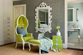 green velvet dome chair with white baroque mirror transitional