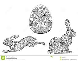 coloring pages symbols of easter egg hare rabbit stock vector