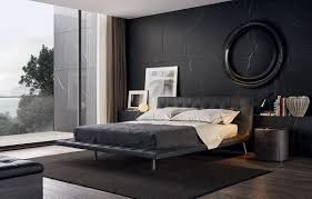 Black Modern Bed Frame Bedroom Decorating Black Painted Wall White Ceiling Beige Carpet