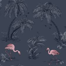 Grey Feature Wall Holden Flamingo Lake Wallpaper Feature Wall Decor Duck Egg Blue
