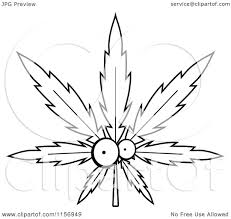 cartoon clipart of a black and white cannabis pot leaf character