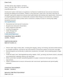 Construction Job Resume Samples sample construction worker resume 9 examples in word pdf