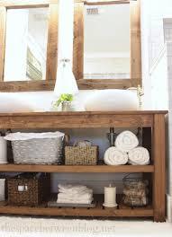 Rustic Wood Bathroom Vanity - diy wood vanity in the master bathroom