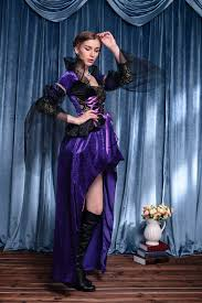 Snow White Halloween Costume Women Purple Vintage Witch Queen Halloween Costume Fancy Dress