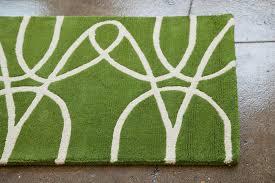 White Runner Rug District17 Ribbon Runner Rug In Green And White Patterned Rugs