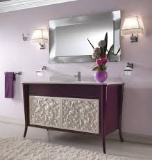 luxury bathroom vanity lighting with purple freestanding vanity
