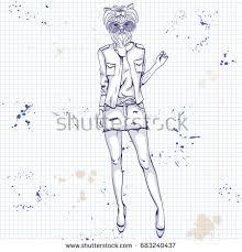 sketch female model cats head wearing stock illustration 682762936