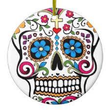 491 round sugar skull ceramic christmas decorations zazzle co nz