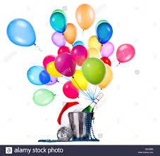 celebration background with chagne balloons and stock