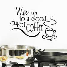 wake good cup coffee decor vinyl wall decal quote wake good cup coffee decor vinyl wall decal quote sticker inspiration kitchen decoration home