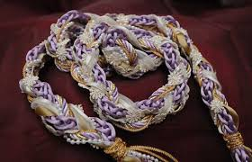 handfasting cord in lilac and with pearls flower braid and