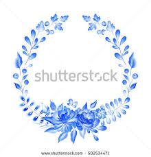 wreath light blue pink flowers stock illustration 400340236