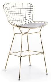 bertoia wire bar stool in gold finish modernselections com