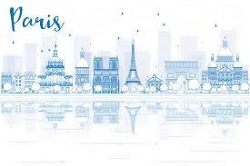 resuma el horizonte de parís con los edificios azules y las