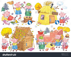 three little pigs fairy tale coloring stock illustration 607199951