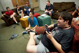 Ryan Hodges  right  joined fellow students and participants in Western Kentucky University     s Kelly Autism Program during a Friday night video game social