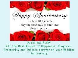 wedding wishes german nirav and rinky vora wish you a happy wedding anniversary dinesh