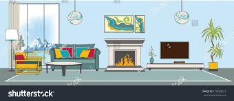 vector livingroom interior flat design stylization stock vector