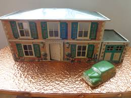 House With Garage Vintage Tin Plate Mettoy Dolls House With Garage And Car 1950s