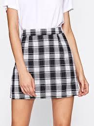 plaid skirt tartan plaid zipper back skirtfor women romwe
