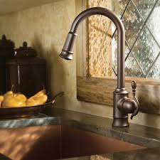 moen bronze kitchen faucets woodmere oil rubbed bronze one handle high arc pulldown kitchen