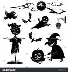 halloween black background pumpkin halloween cartoon set black silhouette on stock vector 112943998