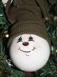 painted snowman light bulb ornament by tracyscrtns on etsy