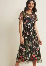 midi dress floral midi dress with embroidered overlay modcloth