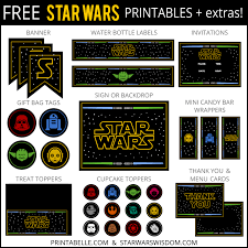 the free printable star wars party set includes gift tags