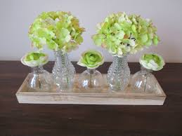 hydrangea cabbage rose glass vase bottles silk flower quaint