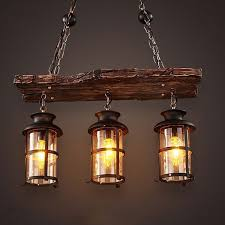 country style pendant lights retro industrial pendant l 6 head old boat wood light american