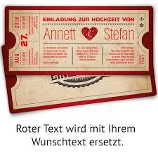 einladungskarten zur hochzeit als vintage herz ticket in rot mit