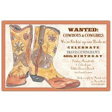 western boots birthday invitations paperstyle