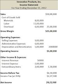 sample income statement an example income statement in single