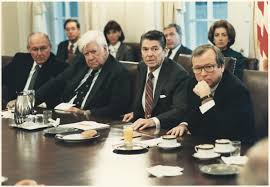 Cabinet President File Photograph Of President Reagan Meeting With Congress On The