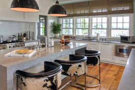 cowhide bar stools kitchen contemporary with beige tile floor