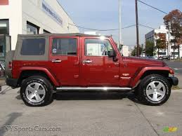 red jeep wrangler unlimited 2009 jeep wrangler unlimited sahara 4x4 in red rock crystal pearl