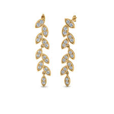 drop earring pave diamond leaf drop earring in 14k yellow gold fascinating