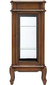 small curio cabinet with glass doors wall display cabinet w 4 adjustable shelves mirrored back