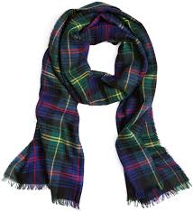 brothers wool navy and green tartan scarf where to buy