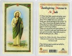 thanksgiving novena to st jude laminated prayer card