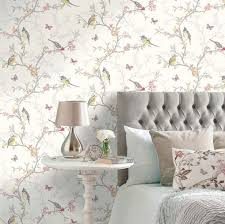 birds and branches shabby chic wallpaper white the shabby chic