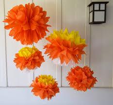 Yellow Pom Pom Flowers - candy corn tissue paper pom poms homestuck party pinterest