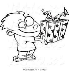 vector cartoon boy holding gift box coloring outline